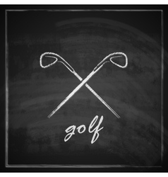 Vintage with golf drivers on blackboard background vector