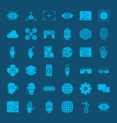 virtual reality glyphs website icons vector image