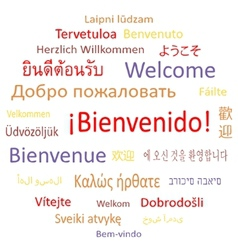 Welcome in different languages vector