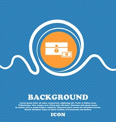 chest icon sign Blue and white abstract background vector image