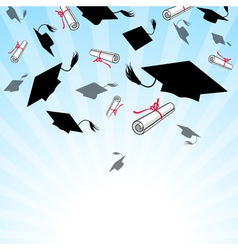 Graduation caps in the sky vector image