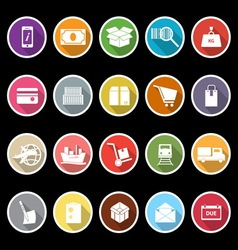 Shipment icons with long shadow vector image