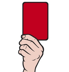 Soccer referees hand with red card vector image vector image