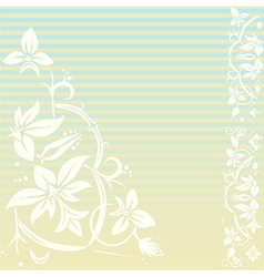 vintage floral background with stripes vector image