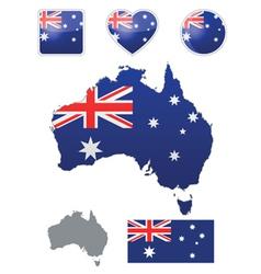 Australian flag and icons vector