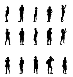 Black and White Silhouettes of People vector image
