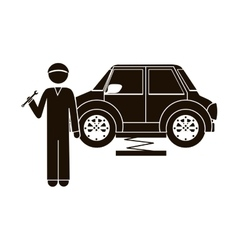 black silhouette mechanic with spanner and car vector image