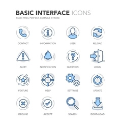 Blue Line Basic Interface Icons vector image vector image