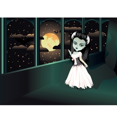 Fashion Zombie Girl on Balcony vector image