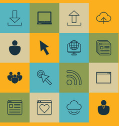set of 16 world wide web icons includes wifi vector image vector image