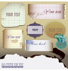 set old paper for text vector image