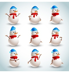 Snowman emotions set vector image