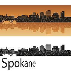 Spokane skyline in orange vector image vector image