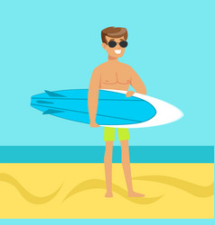 surfer walking on the beach with surfboard vector image vector image