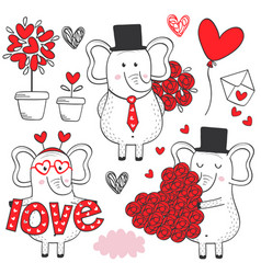 set of isolated elephant in love black and white vector image vector image