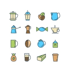 Color set of line icons Coffee Turk vector image vector image