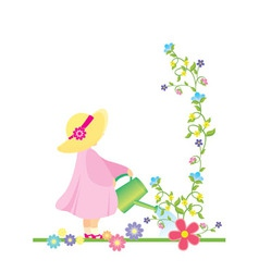 girl watering flowers in the garden vector vector image