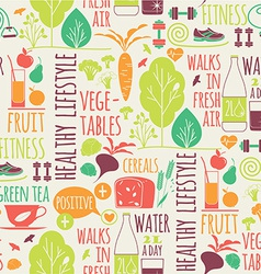Healthy lifestyle seamless background vector image vector image
