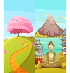 Japan 2 Travel Vertical Banners Set vector image vector image