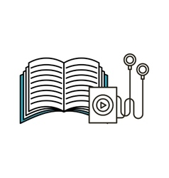 music player and book icon vector image