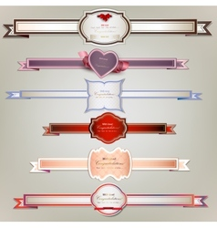 Set of holiday ribbons and labels background vector image