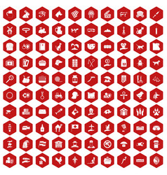 100 pets icons hexagon red vector