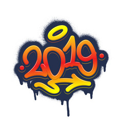 2019 tag graffiti style label lettering vector image