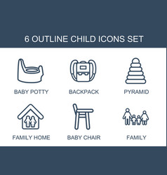6 child icons vector