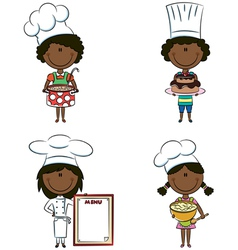African-American chef girls vector