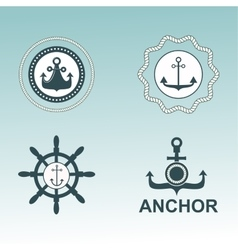 Anchor nautical symbols badges vector