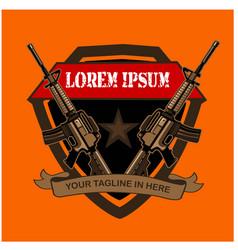 Army riffle logo cartoon vector