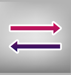arrow simple sign purple gradient icon on vector image