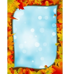 Autumn leaves with background of blue sky EPS 8 vector