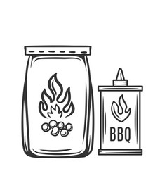 Barbecue charcoal hand drawn vector