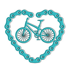 bicycle vehicle with heart chain vector image