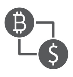bitcoin vs dollar glyph icon finance and money vector image