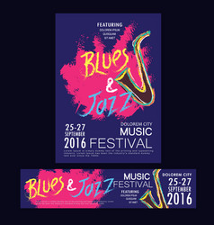 blues and jazz festival poster brochure vector image