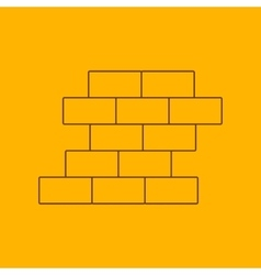 Brick wall line icon vector