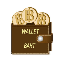 Brown wallet with baht coins vector