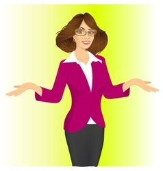 Business woman showing something vector
