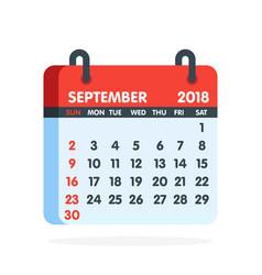 Calendar for 2018 year full month september vector