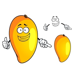 Cartoon yellow mango fruit character vector image