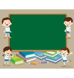 children and chalkboard vector image