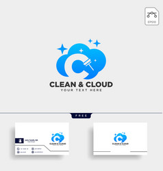 Cleaning service letter c logo template icon vector