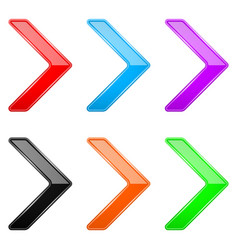 colored shiny 3d thin arrows glass web icons vector image