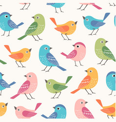 colorful little birds seamless pattern vector image