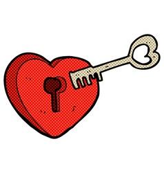 Comic cartoon heart with keyhole vector