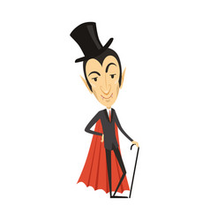 Count dracula vampire in suit red cape cylinder vector