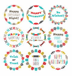 Cute colorful happy halloween circle border set vector