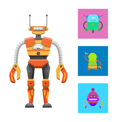 cute humanoid robot colorful vector image